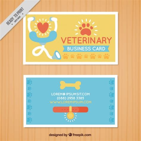 free veterinary business card templates card of veterinary vector free