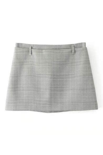 Plaid Mini A Line Skirt plaid mini a line skirt with two pockets for office