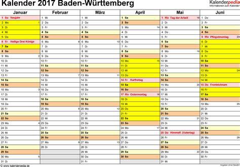 Vordruck Kalender 2017 Kalender 2017 Baden W 252 Rttemberg Ferien Feiertage Pdf