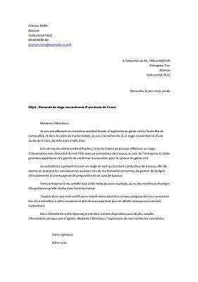 Exemple Lettre De Motivation Stage Pdf Lettre De Motivation Pour Un Stage D Ing 233 Nieur Exemples De Cv