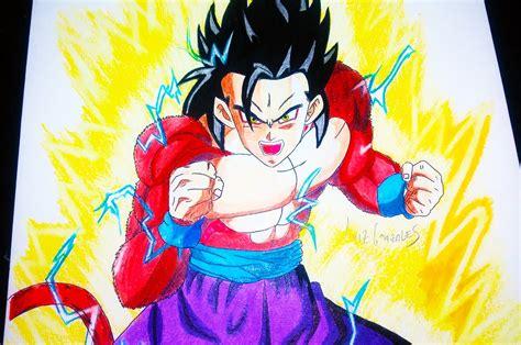 imagenes de goku y gohan fusionados como dibujar a gohan ssj 4 dragon ball heroes how to