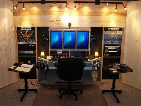home studio idea photo built in wall tripple cpu monitor
