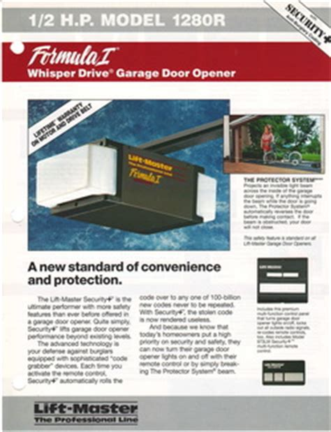 Liftmaster Formula 1 Garage Door Opener by Liftmaster 1280 Garage Door Opener Manual Garage Door