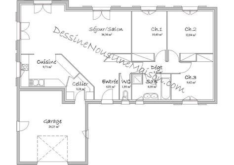 plan de maison plein pied gratuit 3 chambres plans de maisons individuelles avec 3 chambres