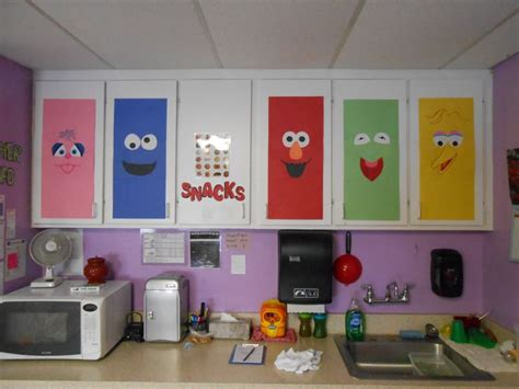 daycare curtains sesame street theme decor on cabinet doors just