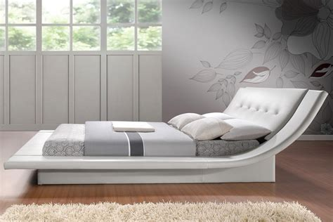 White Modern Bed Frame Calyx White Modern Bed With Curved Headboard This King Sized Platform Bed Requires Only A