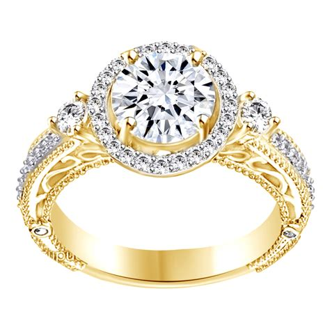 deco gold engagement rings vintage deco ring engagement 2 carat simulated