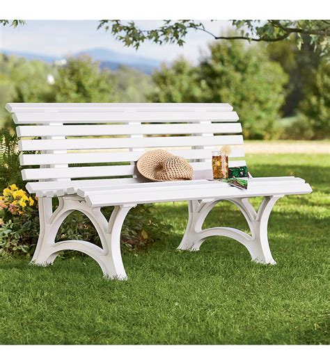 resin garden bench 59 quot x 26 1 2 quot x 31 1 2 quot h german made weatherproof resin