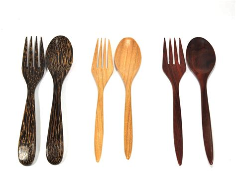 Handmade Kitchen Utensils - 7 quot tembusu rosewood palm spoon fork set dinner rice
