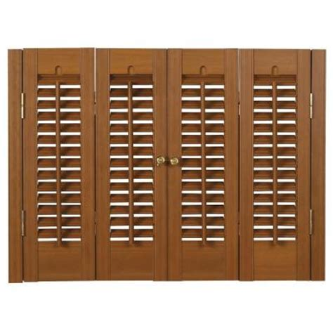 interior wood shutters home depot homebasics traditional faux wood oak interior shutter price varies by size qstb3136