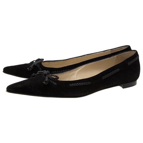manolo flat shoes manolo blahnik black leather braided bow ballet flats size