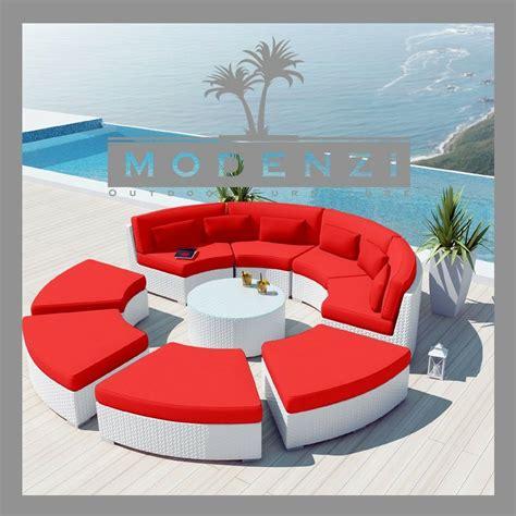 modenzi deluxe  white outdoor wicker sofa patio