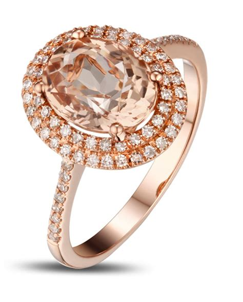 rose gold 3 carat morganite and diamond double halo designer