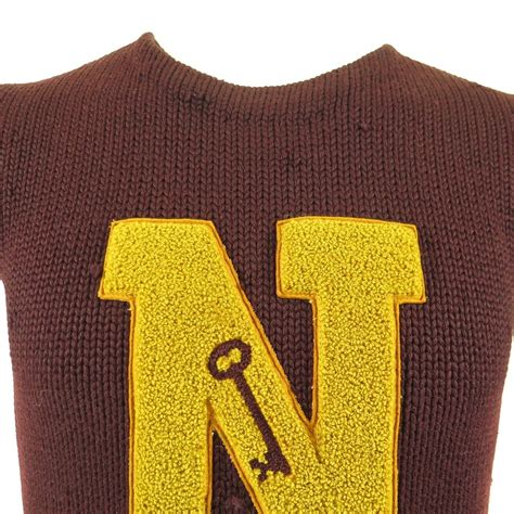 7 Of The Best Varsity Inspired Garments by Vintage 30s Boston College N Key Sweater M Letterman