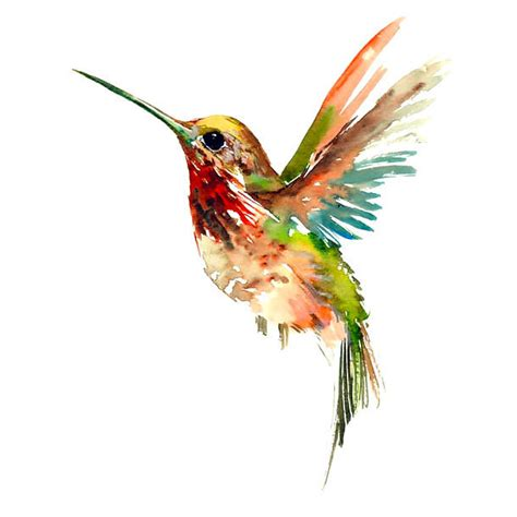 cool watercolor hummingbird tattoo design