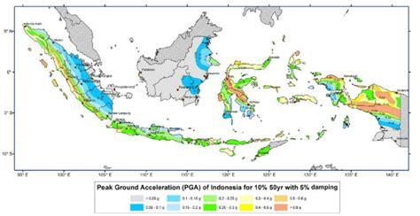 earthquake map indonesia earthquake hazard map peak ground acceleration pga of