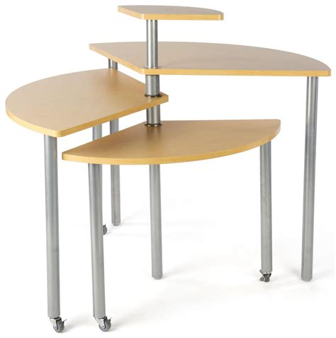 maple rotating retail display table 4 tiers
