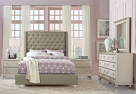 silver bedroom furniture sets sofia vergara paris silver 5 pc queen upholstered bedroom 17062 | br rm paris silver~Sofia Vergara Paris Silver 5 Pc Queen Upholstered Bedroom