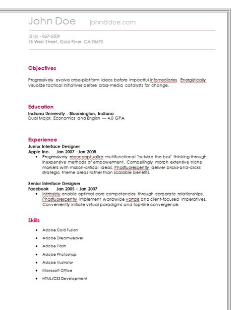 simple resume format for students pdf simple basic resume template with objective and list of skills standard resume pdf resume sle