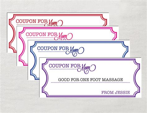 Coupons For Mom Instant Download Editable By Laurevansdesign Free Coupon Maker Template