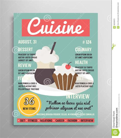 magazine cover template food blogging layer stock vector