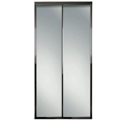 Mirror Bypass Closet Doors Contractors Wardrobe 96 In X 96 In Silhouette 5 Lite