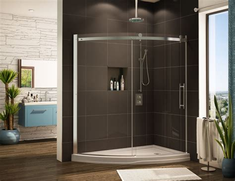 Glass Shower Enclosures With Base Pin Half Tile On