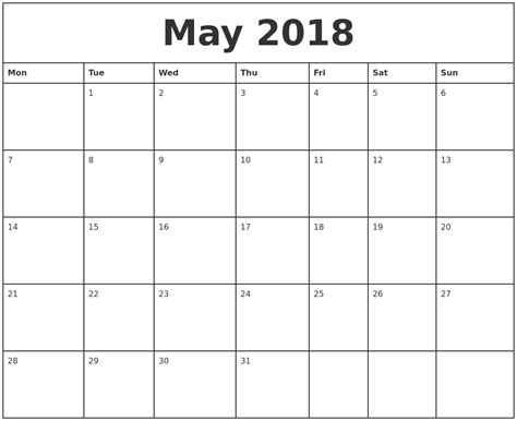 printable calendar by month 2018 may 2018 printable monthly calendar