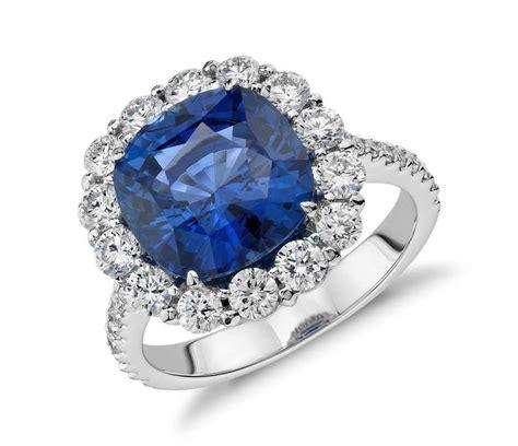 Tiaria 18k Classic Blue Sapphire Earrings Perhiasan Emas Anting Wanita Cushion Sapphire And Classic Halo Ring In 18k