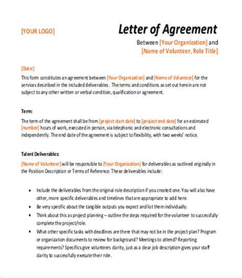 Letter Of Agreement For Volunteers Sle Agreement Letter 8 Exles In Word Pdf