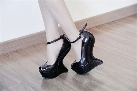 heel less high heel shoes black curved heel less platform high wedge ankle
