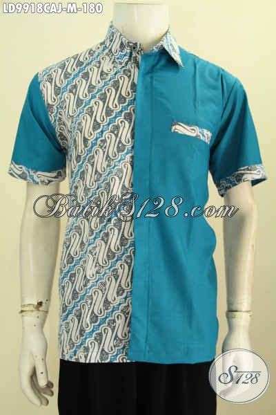 Kain Batik Cap Medan Biru baju batik cowok warna biru motif klasik kombinasi kain