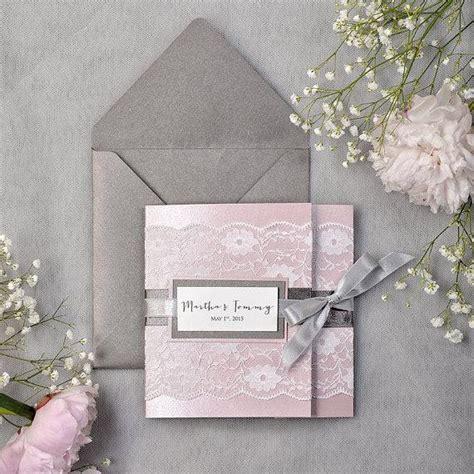 hochzeitseinladungen rosa grau grey and pink lace wedding invitation express order