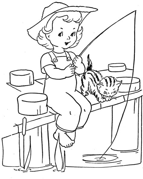 girl fishing coloring pages google search