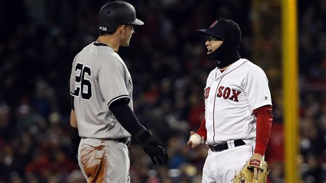red sox yankees benches clear watch benches clear in red sox yankees game after play at