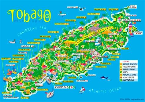 and tobago map map of tobago caribbean mexican maps