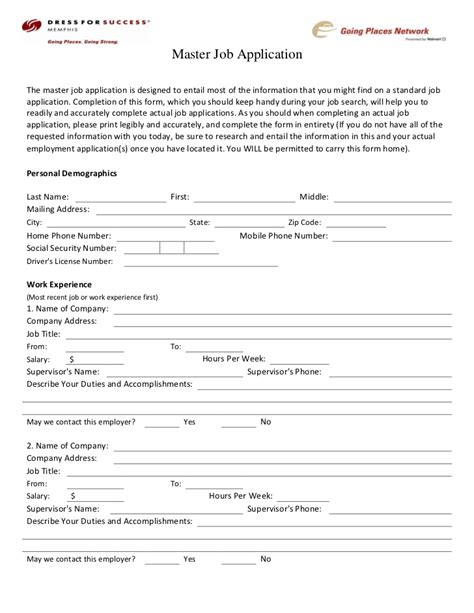 Dress For Success Memphis Career Center Master Job Application Master Application Template