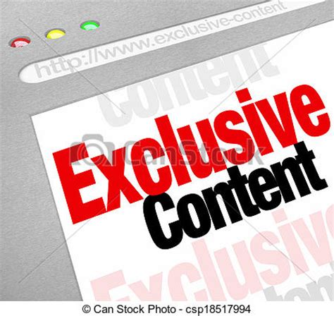 Website Find Exclusive by Stock Photographs Of Exclusive Content Words On A Website