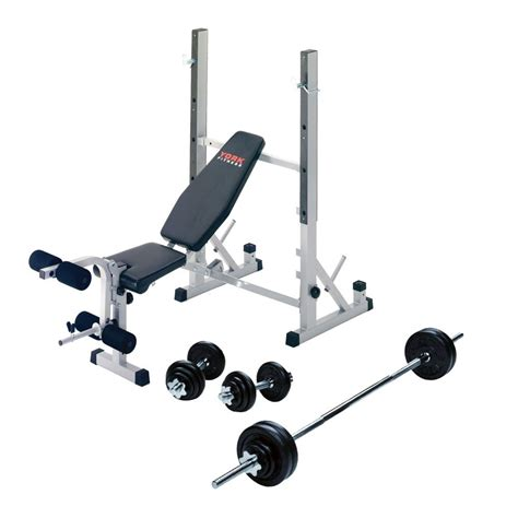 bench and barbell york b540 weight bench with 50kg barbell dumbbell set