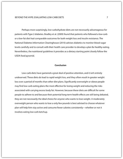 concluding section of a book developing a final draft of a research paper