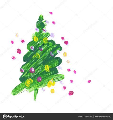 arbol de navidad dibujado pincel trazo verde 225 rbol de navidad pintura al 243 leo
