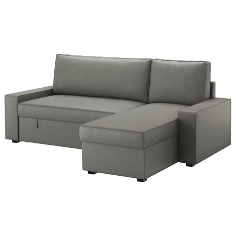 chaise longue sofa bed vilasund sofa bed with chaise longue borred grey green ikea