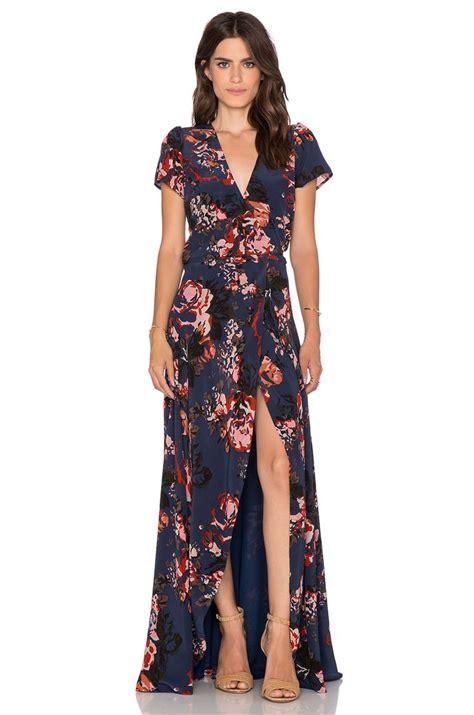 helena quinn maxi wrap dress in navy print