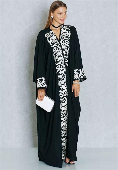 Abaya Dress Gamis Jubah Swaroski Elzha تسوق عباية مطرزة ماركة هيا كلوزيت لون أسود في عمان abayas