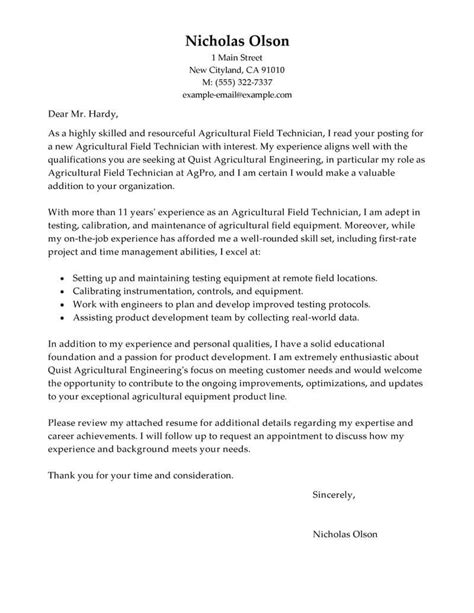 cover letter exles for field best field technician cover letter exles livecareer