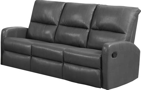 84gy 3 Charcoal Grey Bonded Leather Reclining Sofa 84gy 3 Charcoal Grey Leather Sofa