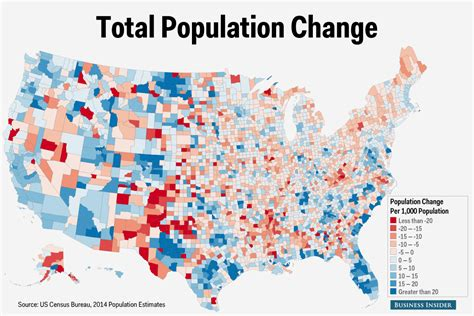 map us counties us census county population change map business insider