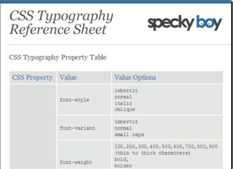 typography css css typography reference sheet todo sobre el uso de