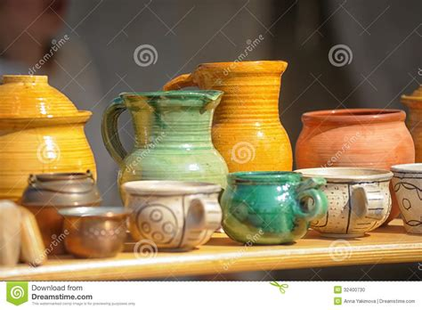 Handmade Clay Pots - handmade clay pots stock photography cartoondealer