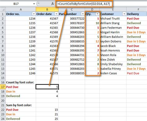 excel if function color how to count by color and sum by color in excel 2016 2013